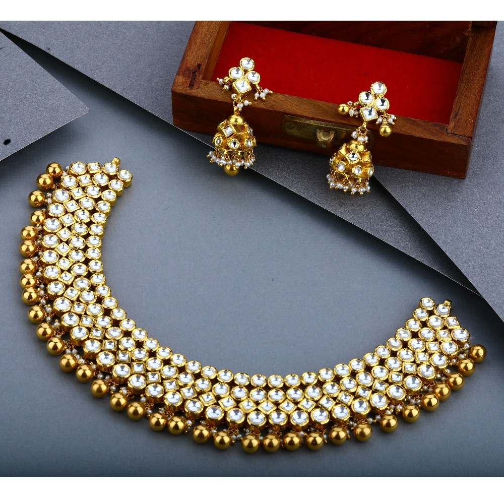 916 Gold Kundan Choker Set For Wedding