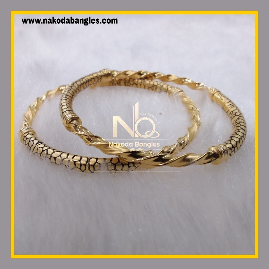 916 Gold Pipe Bangles NB - 890