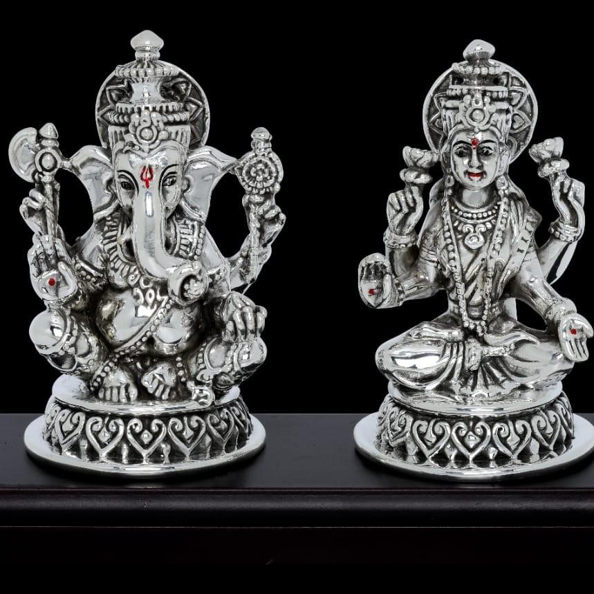 92.5 Sterling Silver Antique Ganesh Laxmi  Idol