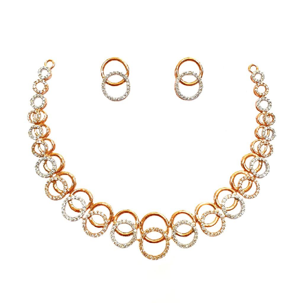 18K Rose Gold Designer Diamond Necklace Set MGA - DN001