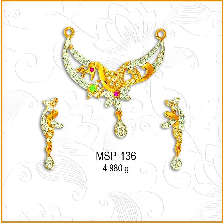 916 Gold Designer CZ Mangalsutra Pendant Set MSP-136