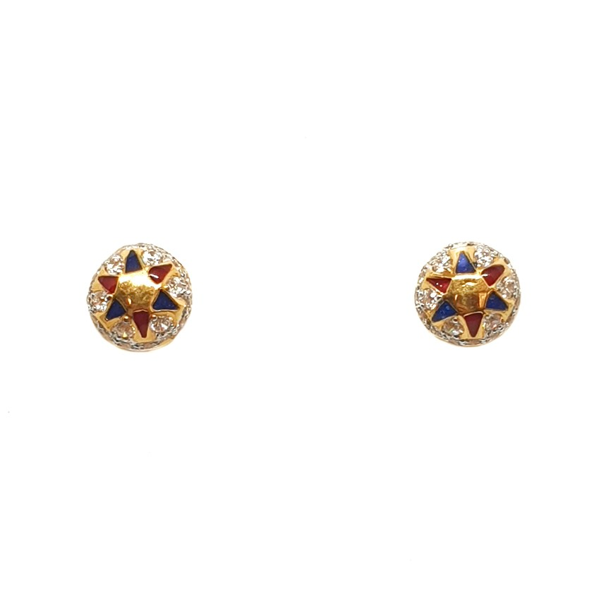 22K Gold Round Shape Meenakari Tops Earrings MGA - BTG0319