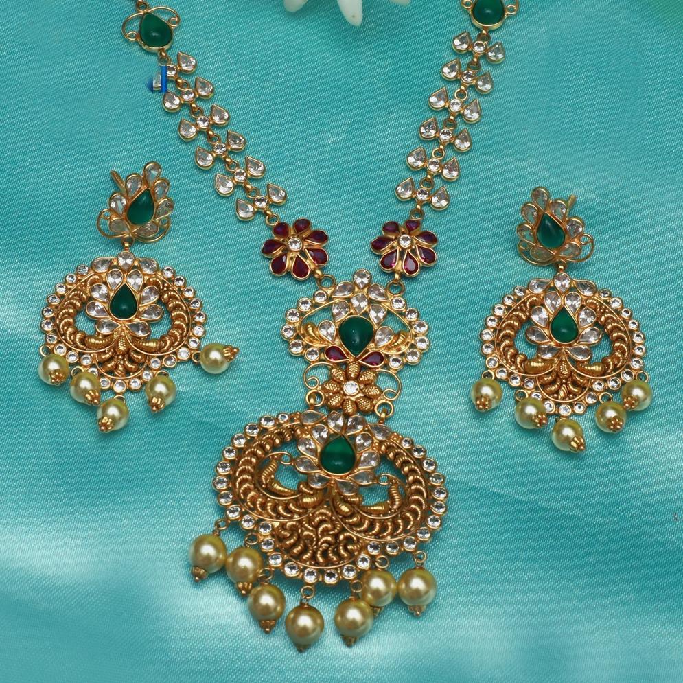 916 Gold Kundan Necklace Set PJ-N011