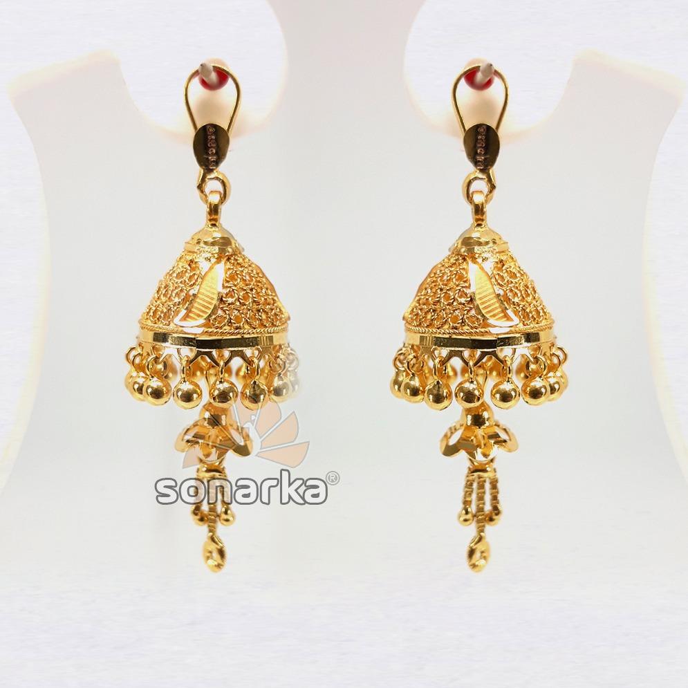 Gold Earring Removable Jhumka Drops SK - E020