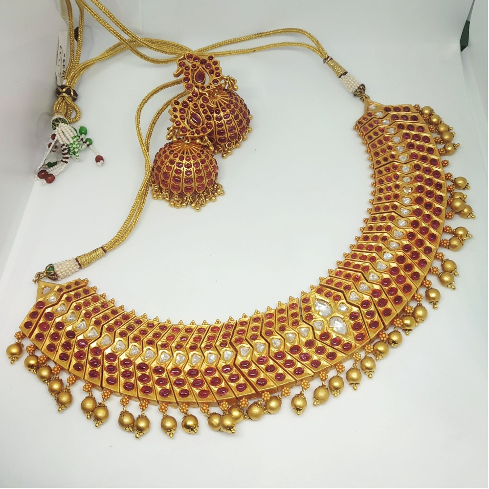 Antique Red Stone Bridal Necklace Set