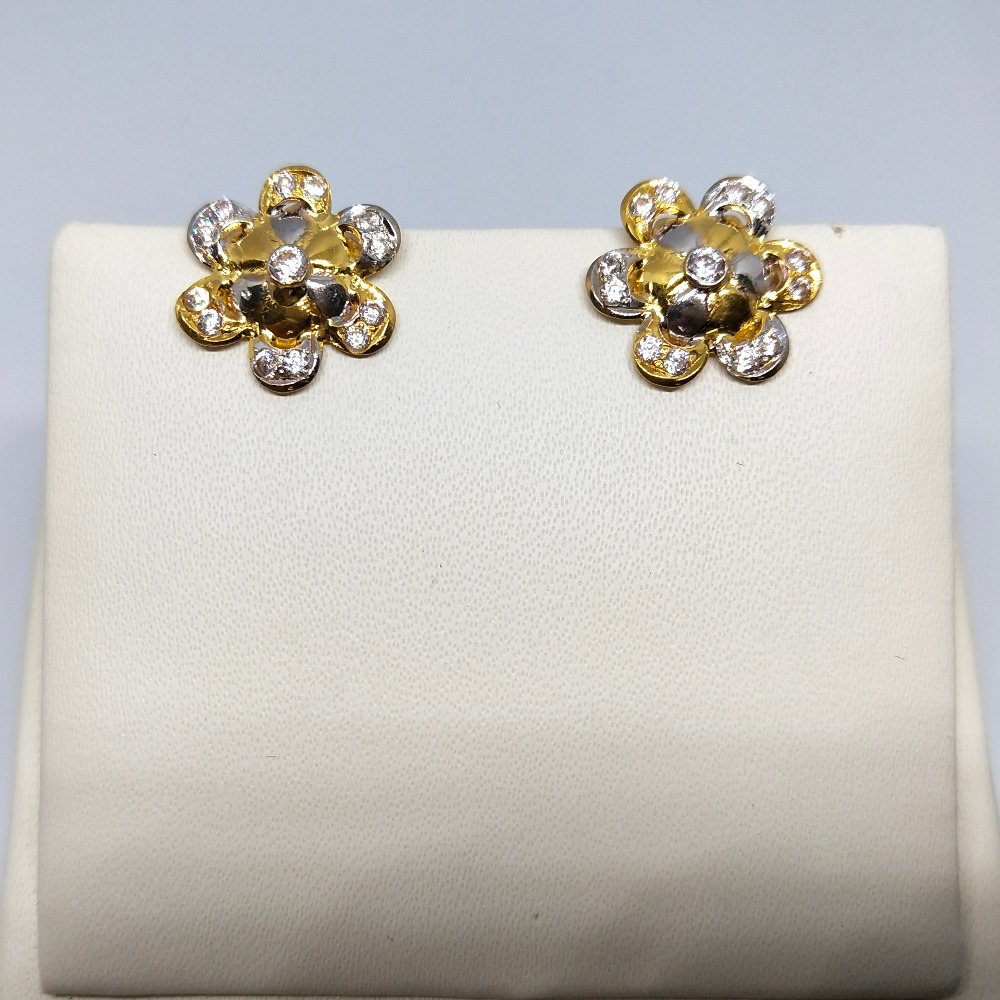 18KT gold flower design earring tops dj-e006