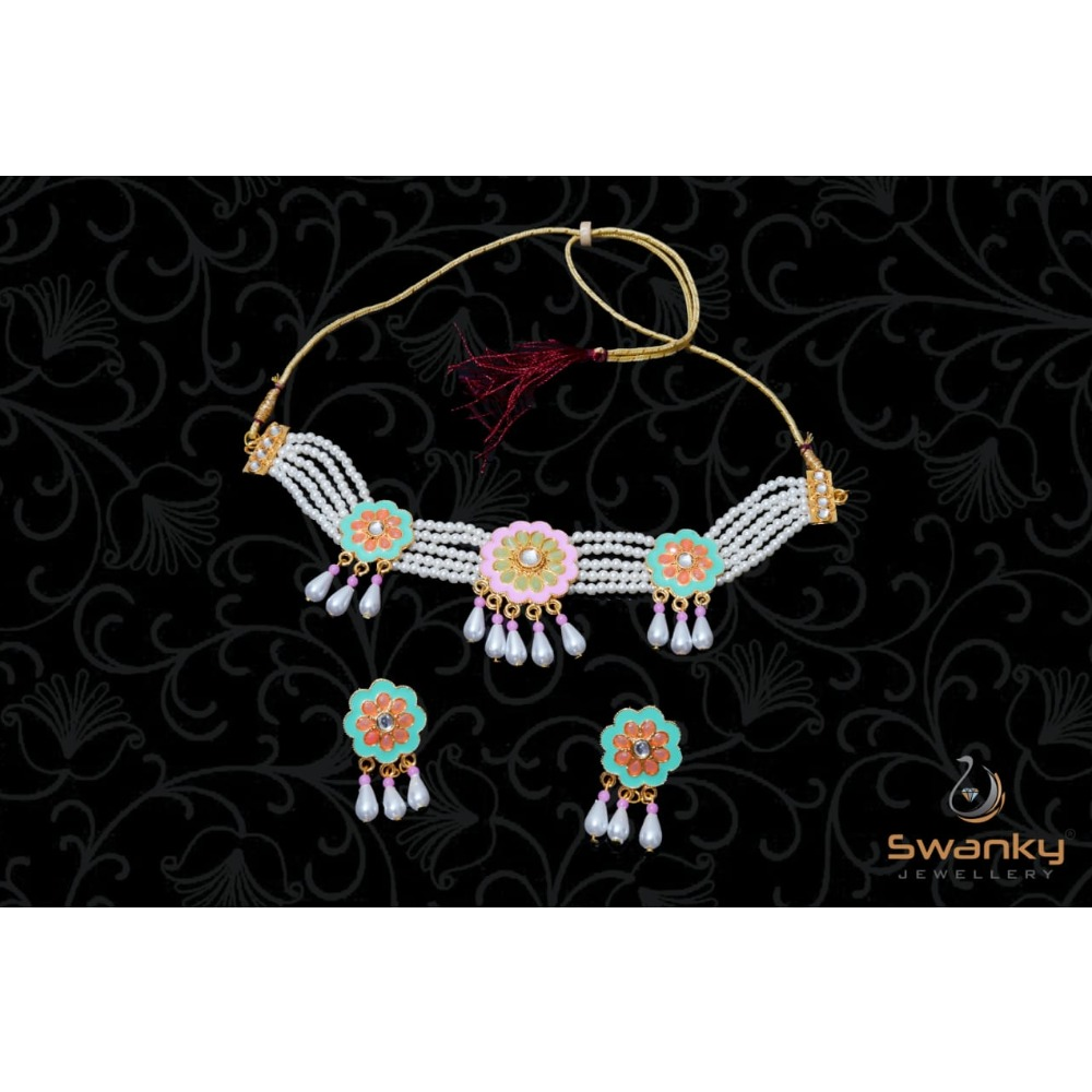 Attractive white pearl moti set with colourfull mina & glass beads