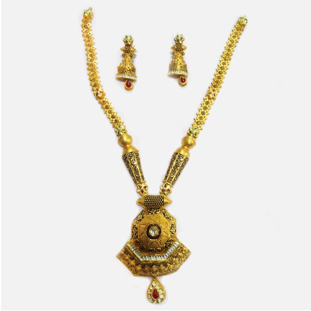 916 Gold Antique Long Necklace Set RHJ-3907