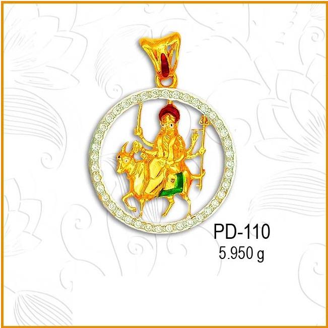 916 CZ Gold Hindu Religious Maa Pendant PD-110