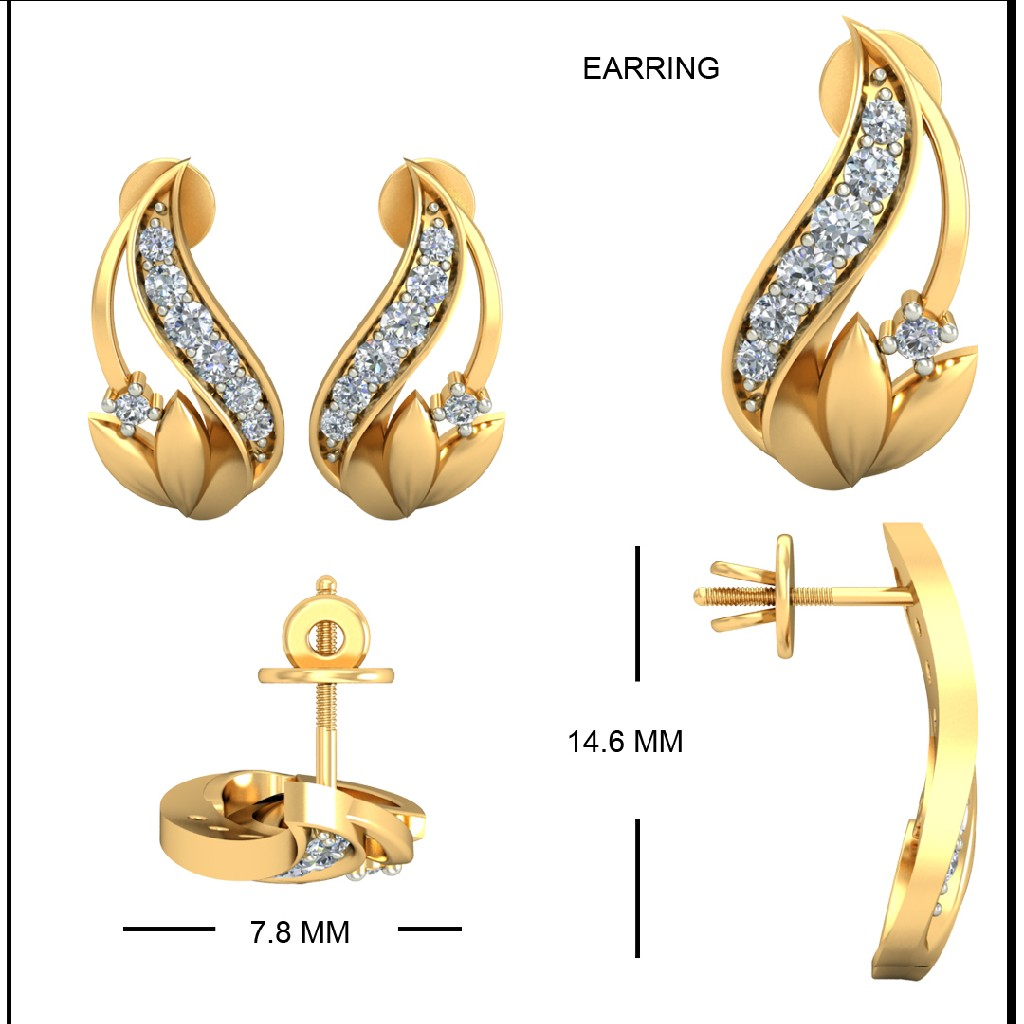 22Kt Yellow Gold Ratnavali Earrings For Women