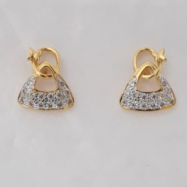 916 cz gold light weight earrings