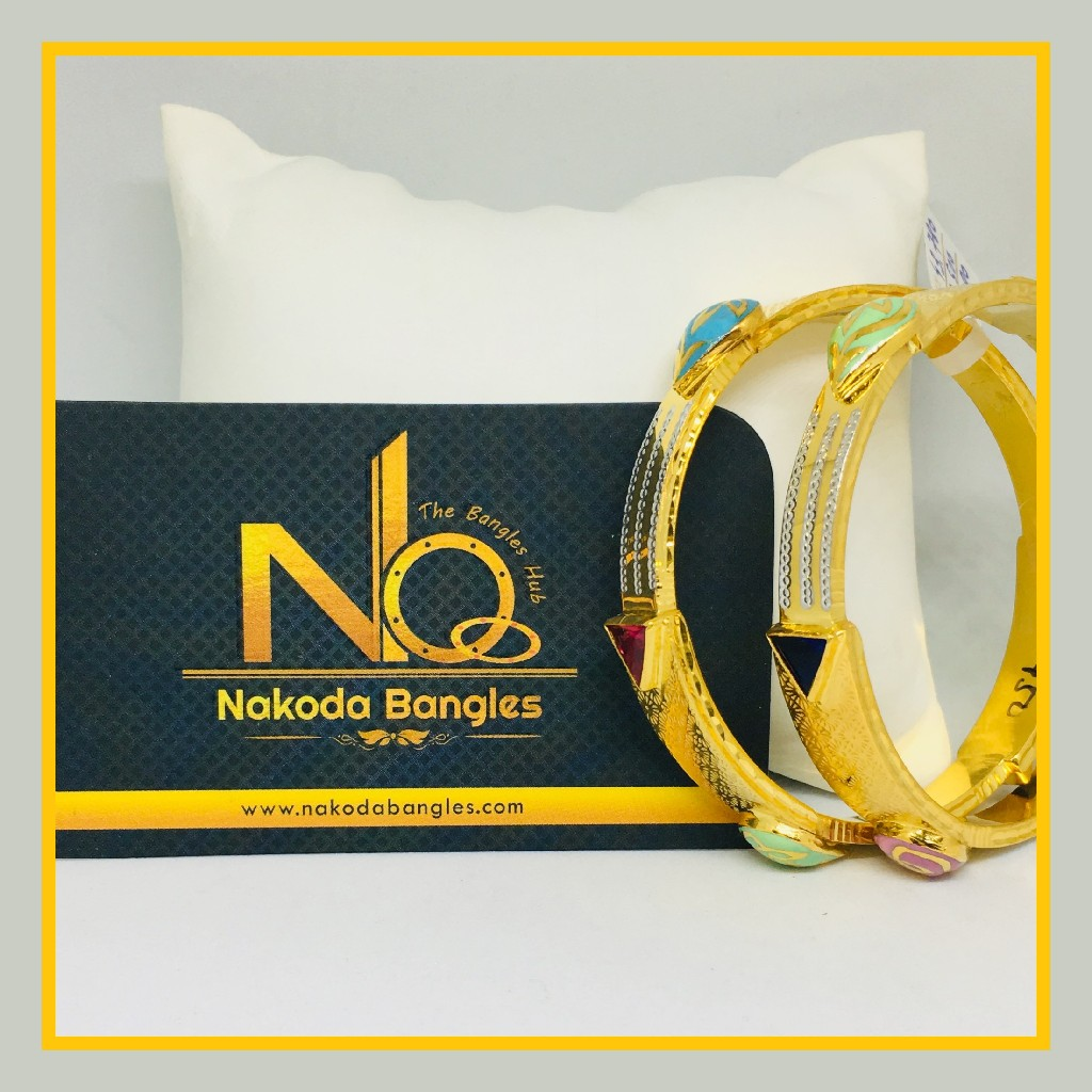 916 Gold Stone Fancy Bangles NB - 537