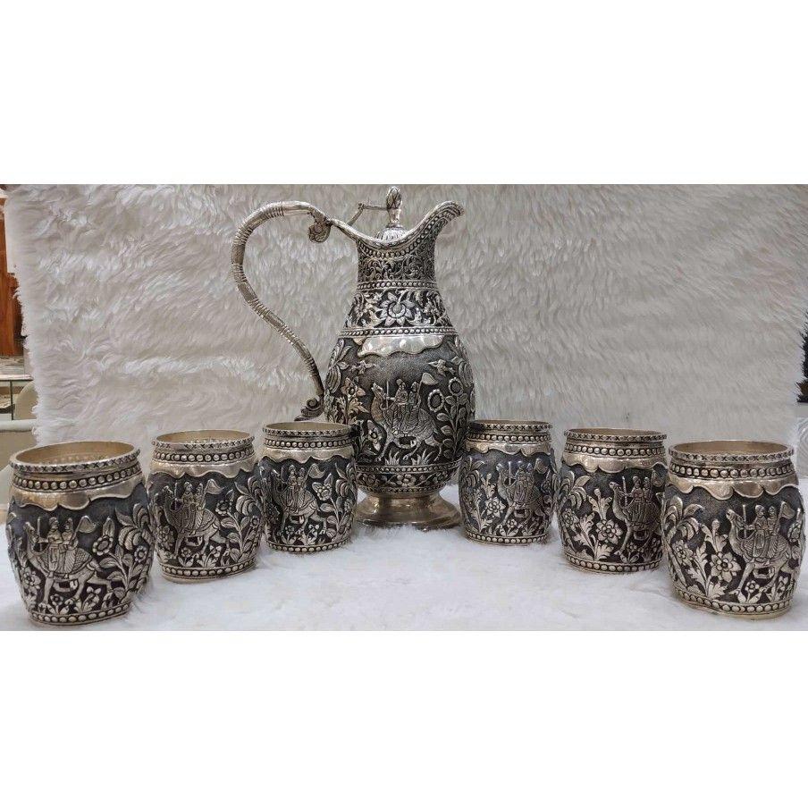Glass & jag  antique set silver