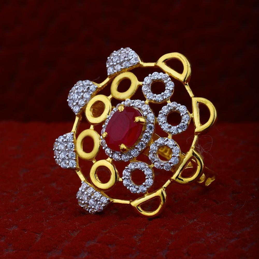 916 Gold CZ Fancy Ring For Women RJ-R01