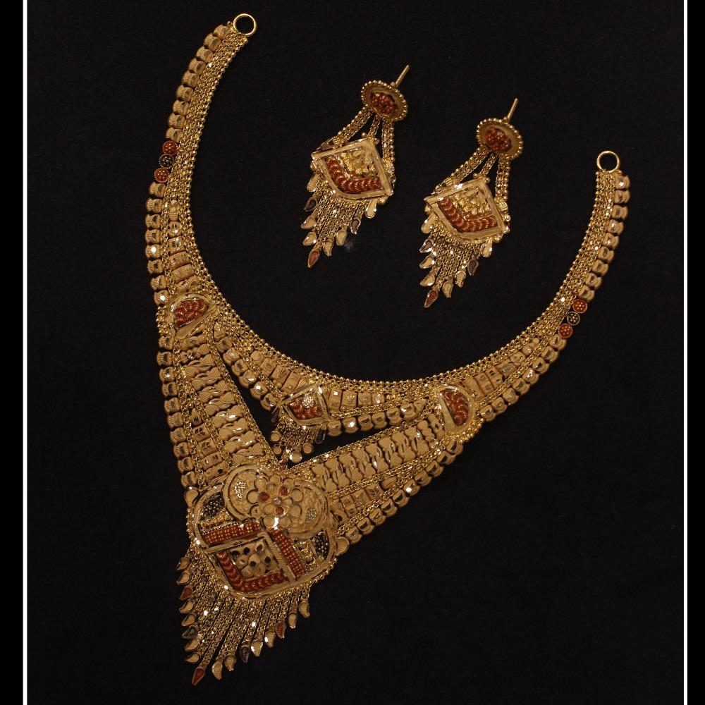 22KT Gold Indian Design Necklace Set PO-N04
