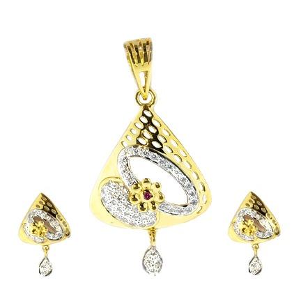 916 Gold CZ Diamond Pendant Set SO-PS004