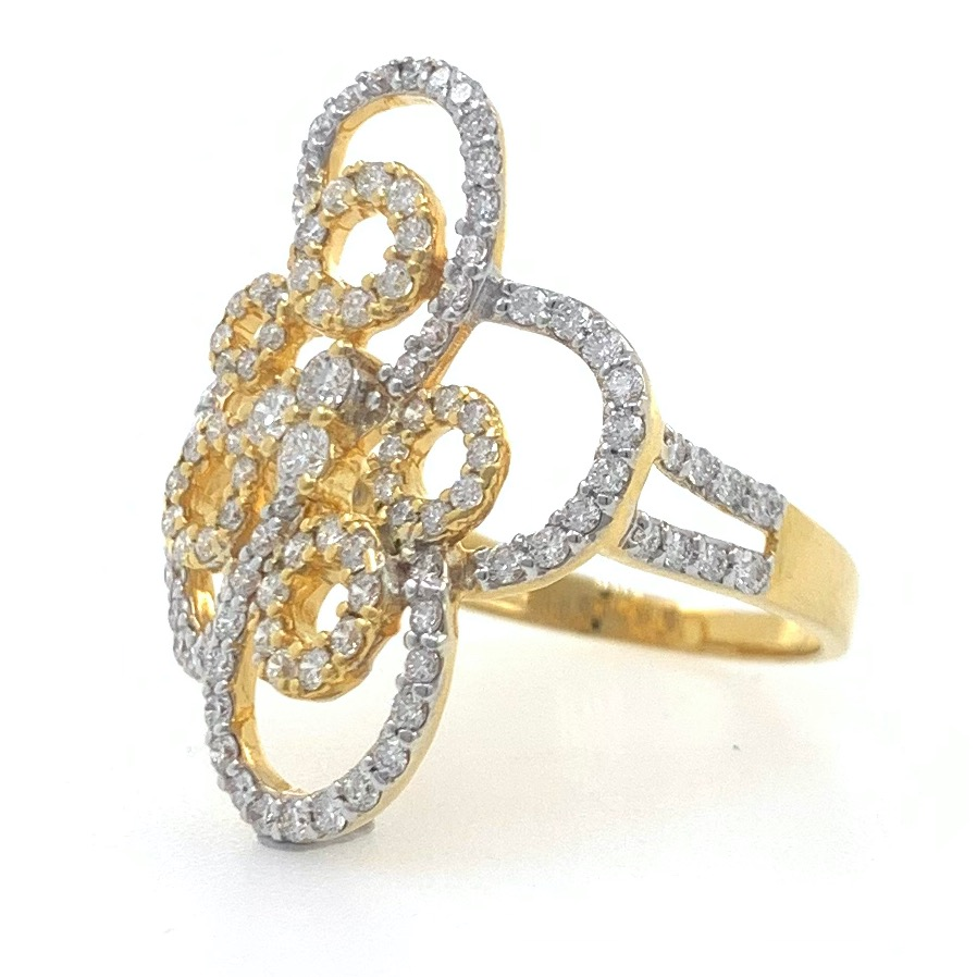 18kt / 750 yellow gold fancy cocktail diamond ring for ladies 6lr264