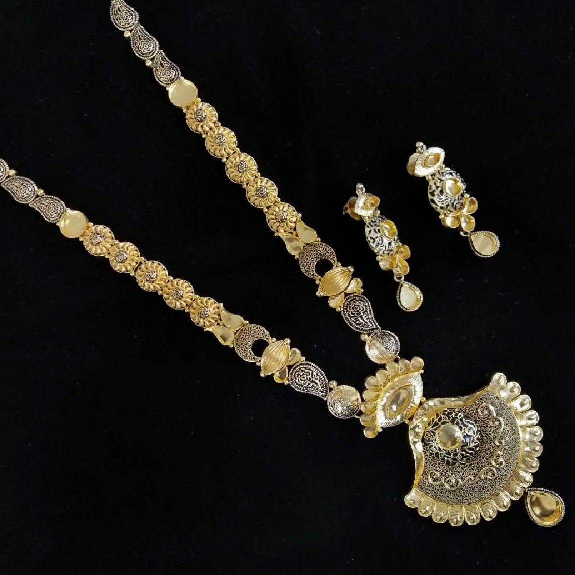 22kt Antique Gold Long Jadtar Necklace Set