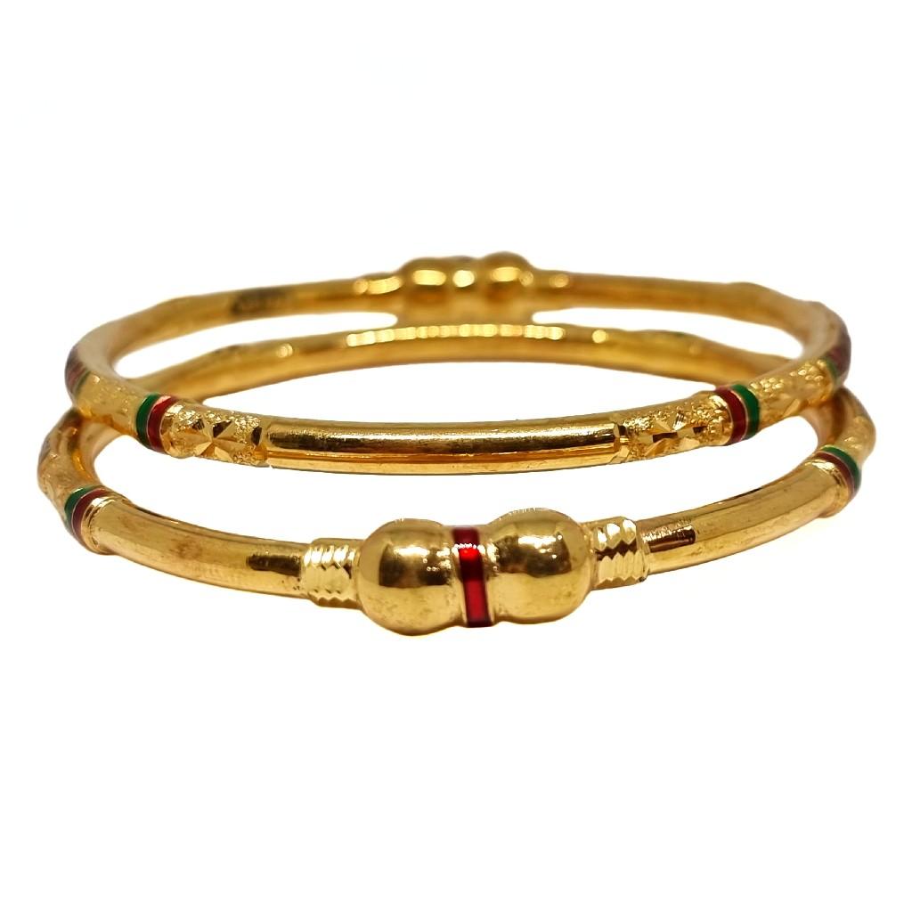 1 Gram Gold Forming Meenakari Designer Kadli Bangl...
