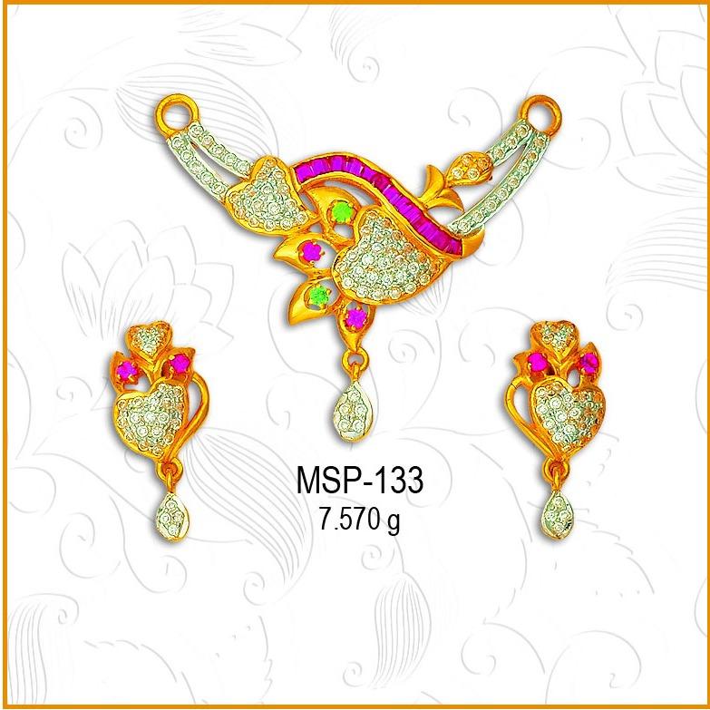 22KT Gold Heart Shape CZ Mangalsutra Pendant Set MSP-133