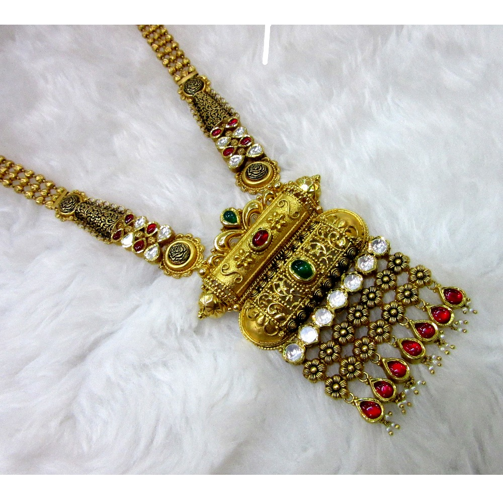 gold hm916 antique rajwadi jadtar necklace