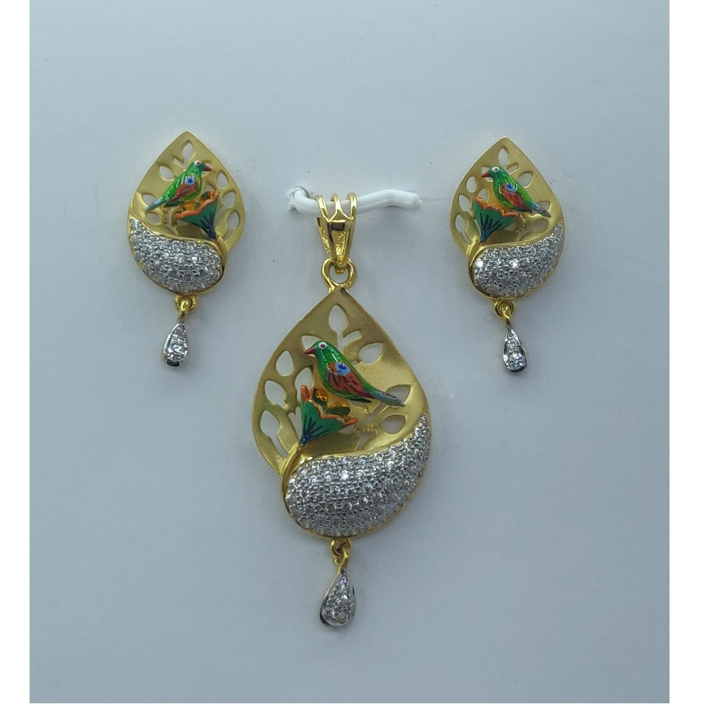 22KT Gold CZ Attractive Bird Design Pendant Set SSJ-PS002