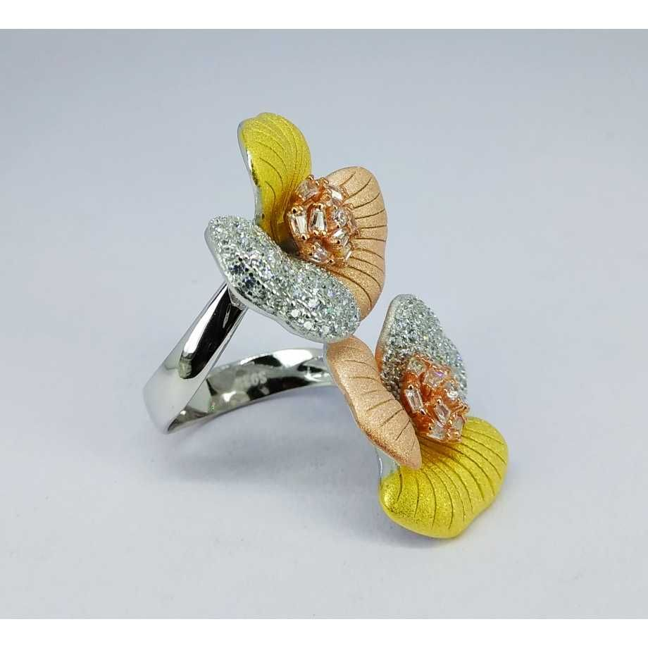 Tri colour 92.5 silver ring MG-R003