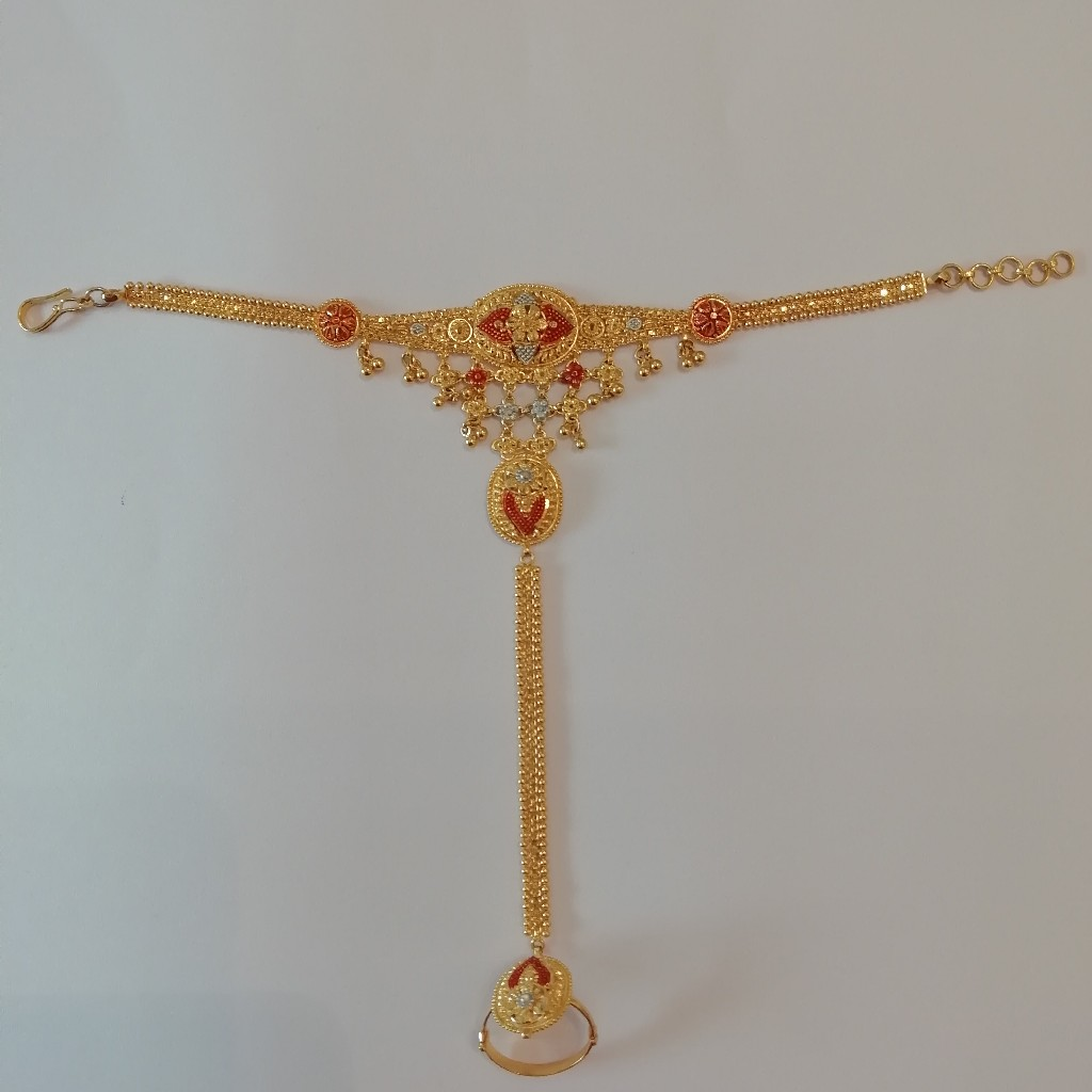 916 gold kalkatti design work hath pocha