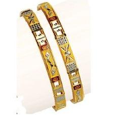 22K / 916 Yellow Gold Designer Double Pipe Kadli