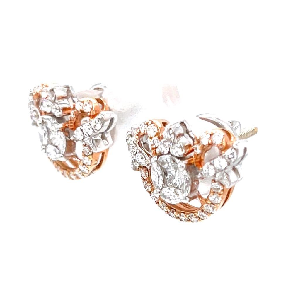Gorgeous Pressure Setting Semi Circle Diamond Earrings 6TOP91
