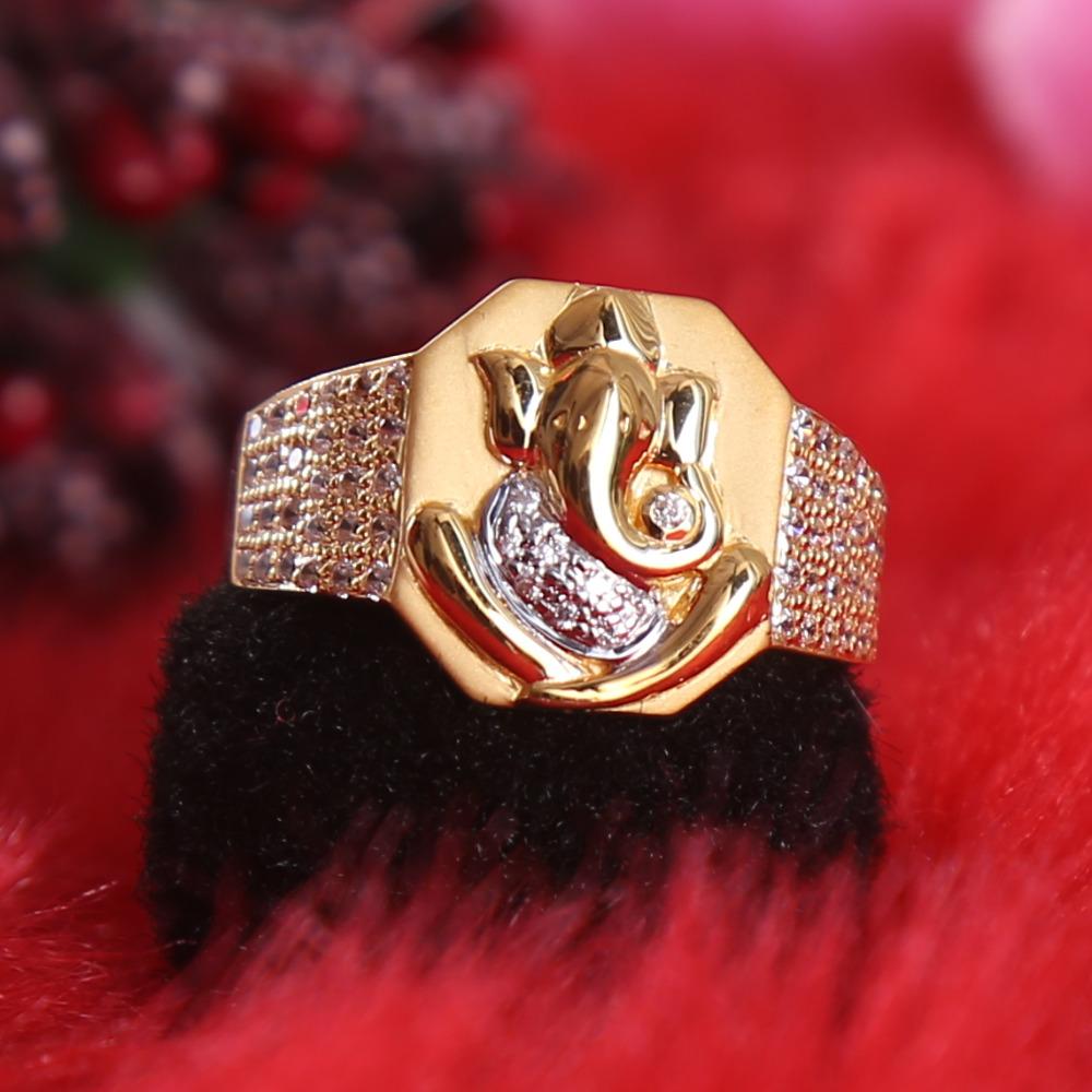 916 gold cz diamond ganpati ji gents ring