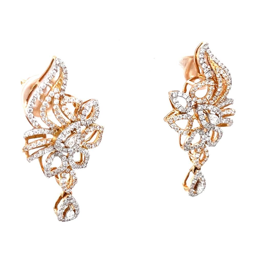 Suspendisse diamond earrings with drop in 18k rose gold 9top102