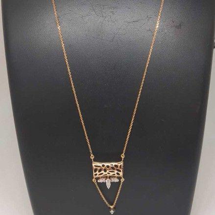 REAL DIAMOND ROSE GOLD DESIGNED CHAIN PENDANT SET