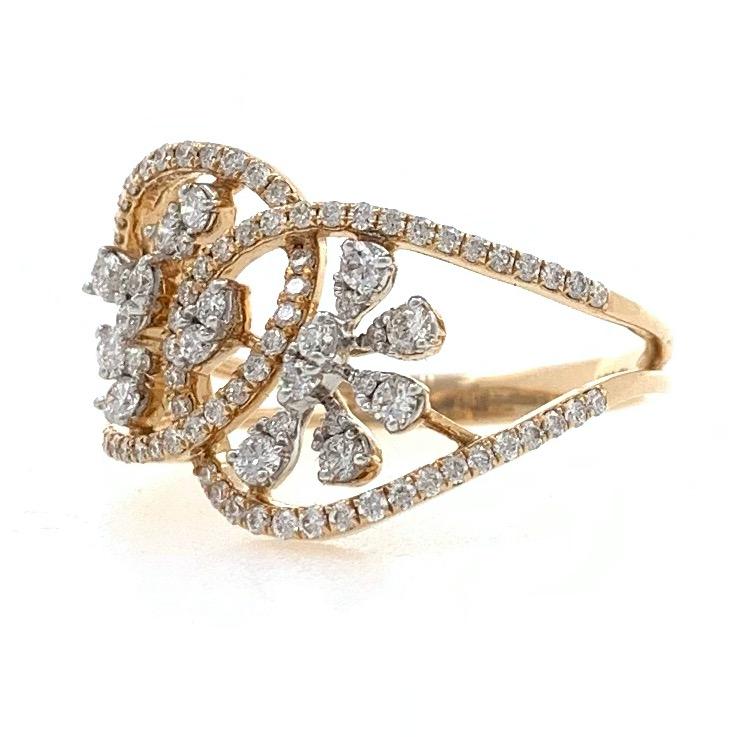 18kt / 750 rose gold floral designed micro set diamond ladies ring 9lr1