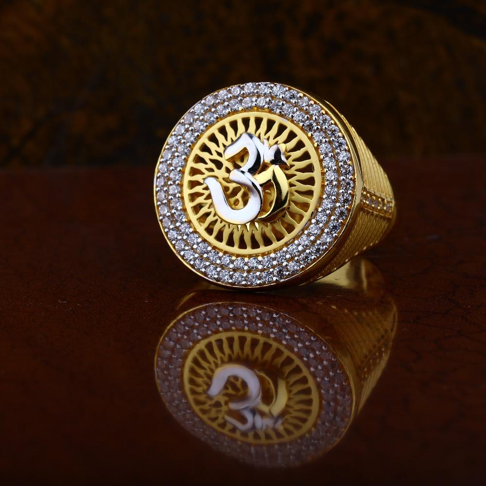 22Kt Gold CZ Om Design ring RJ-R02