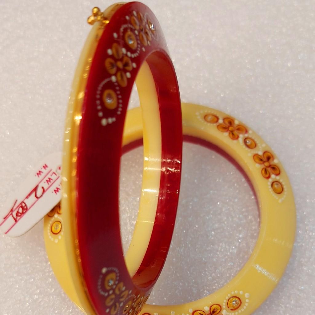 916 red white flower print bridal chuda