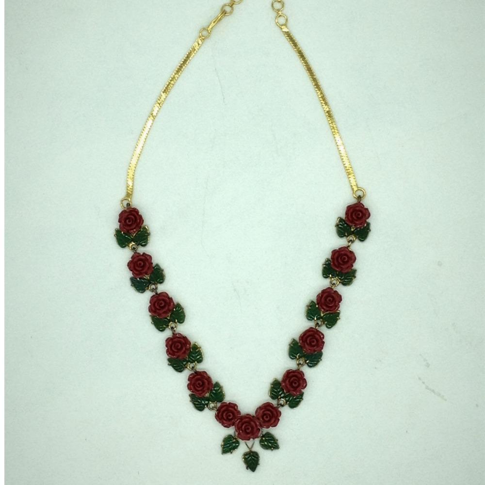 Coral flower andjade leaves necklace set jnc0119