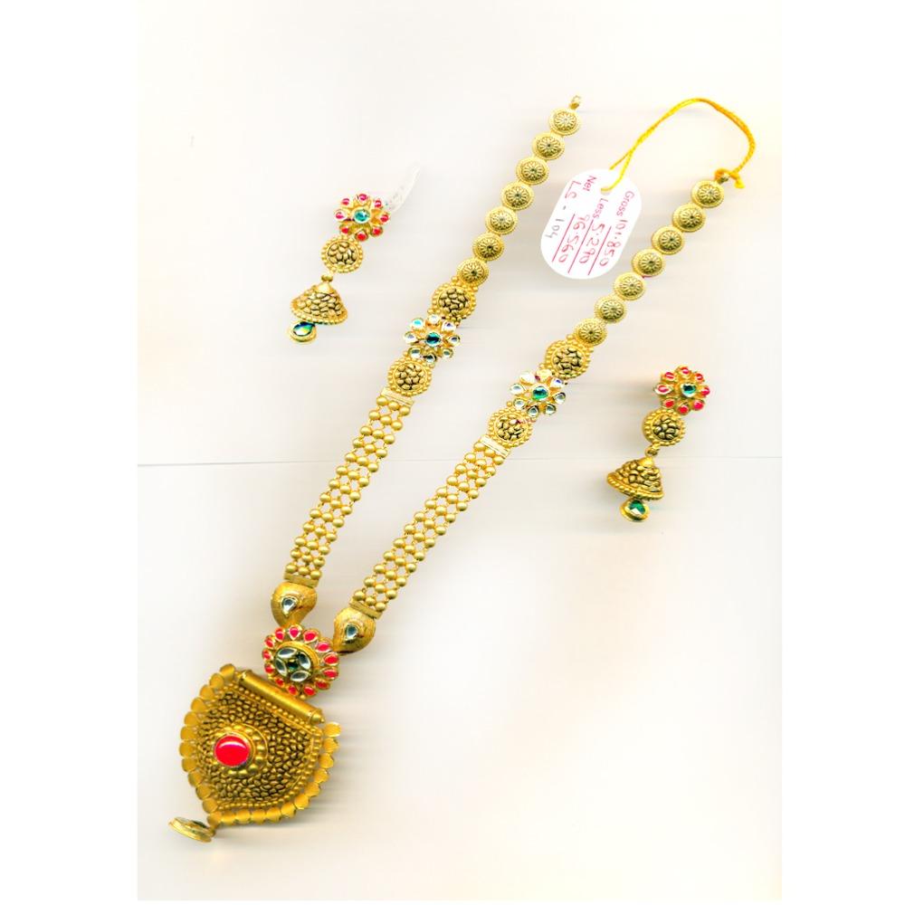 22KT Antique Colorful Gold Bridal Long-Necklace Set-31
