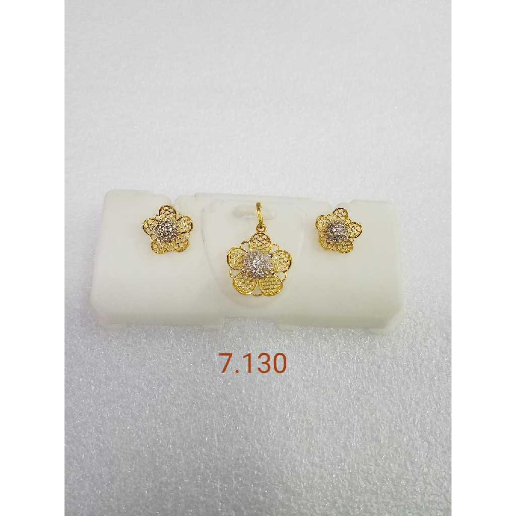 22KT gold jali pendant set NG-P002