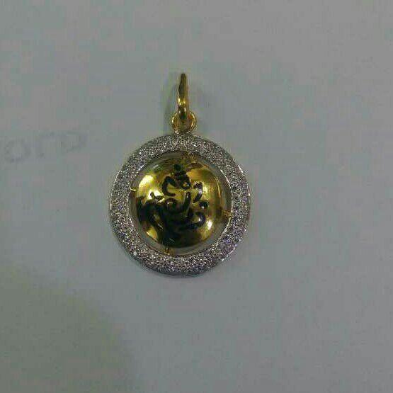 22K Gold CZ Round Pendant