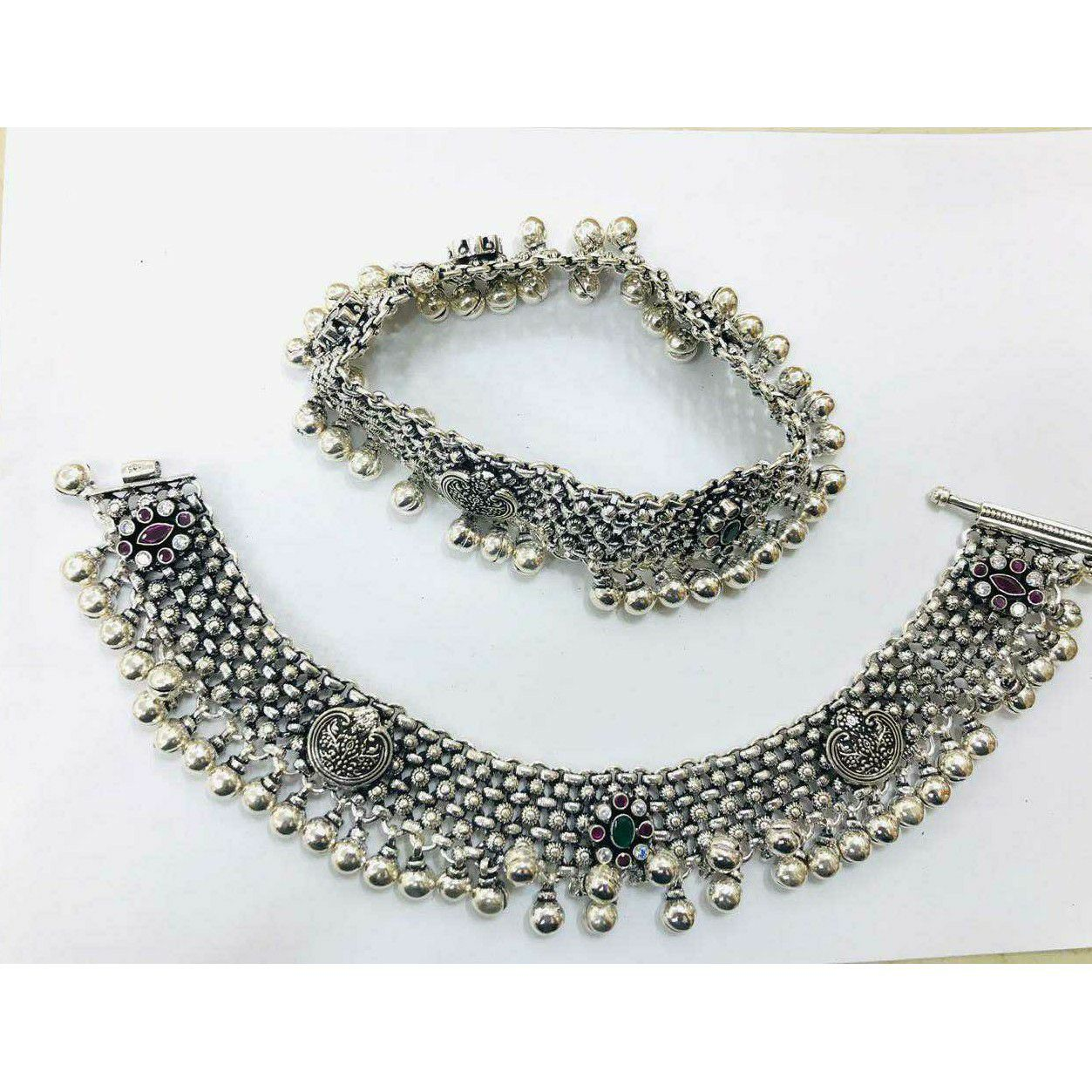 92.5 Sterling Silver Heavy Weight Oxodize Casting Janjari Payal(Anklet) Ms-3809