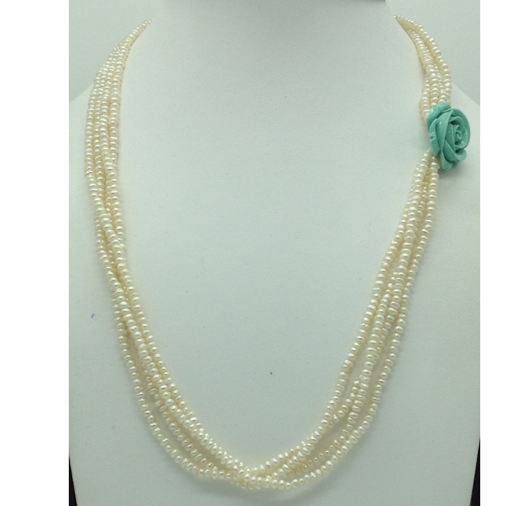 Freshwater White Seed Pearls And Turquoise Flower Broach Set JPP1075