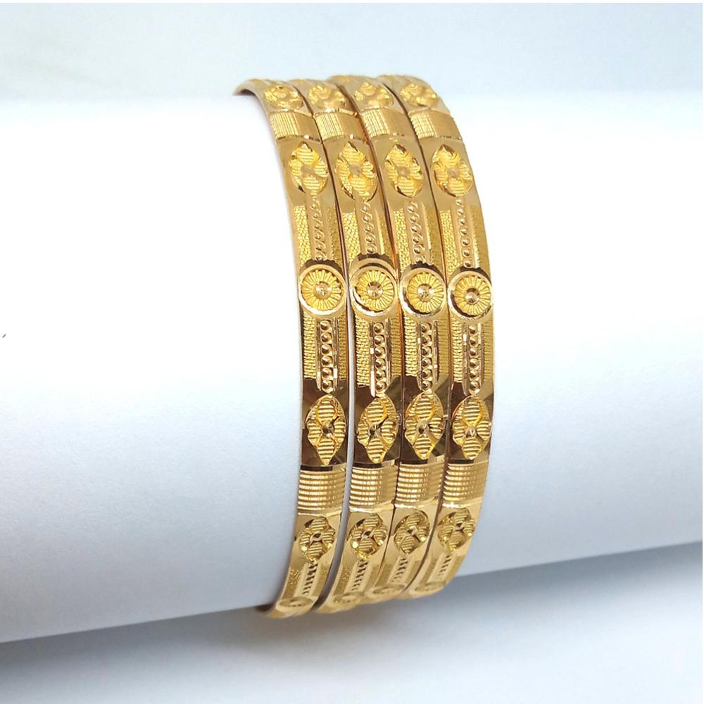 916 Yellow Gold 4 Piece Machine Cut Bangle