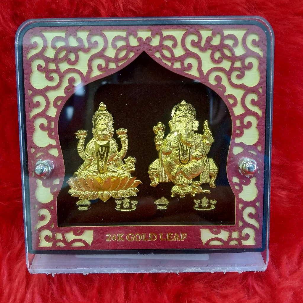24KT Gold Leaf Laxmi ji & Ganpati ji showpiece gift Article