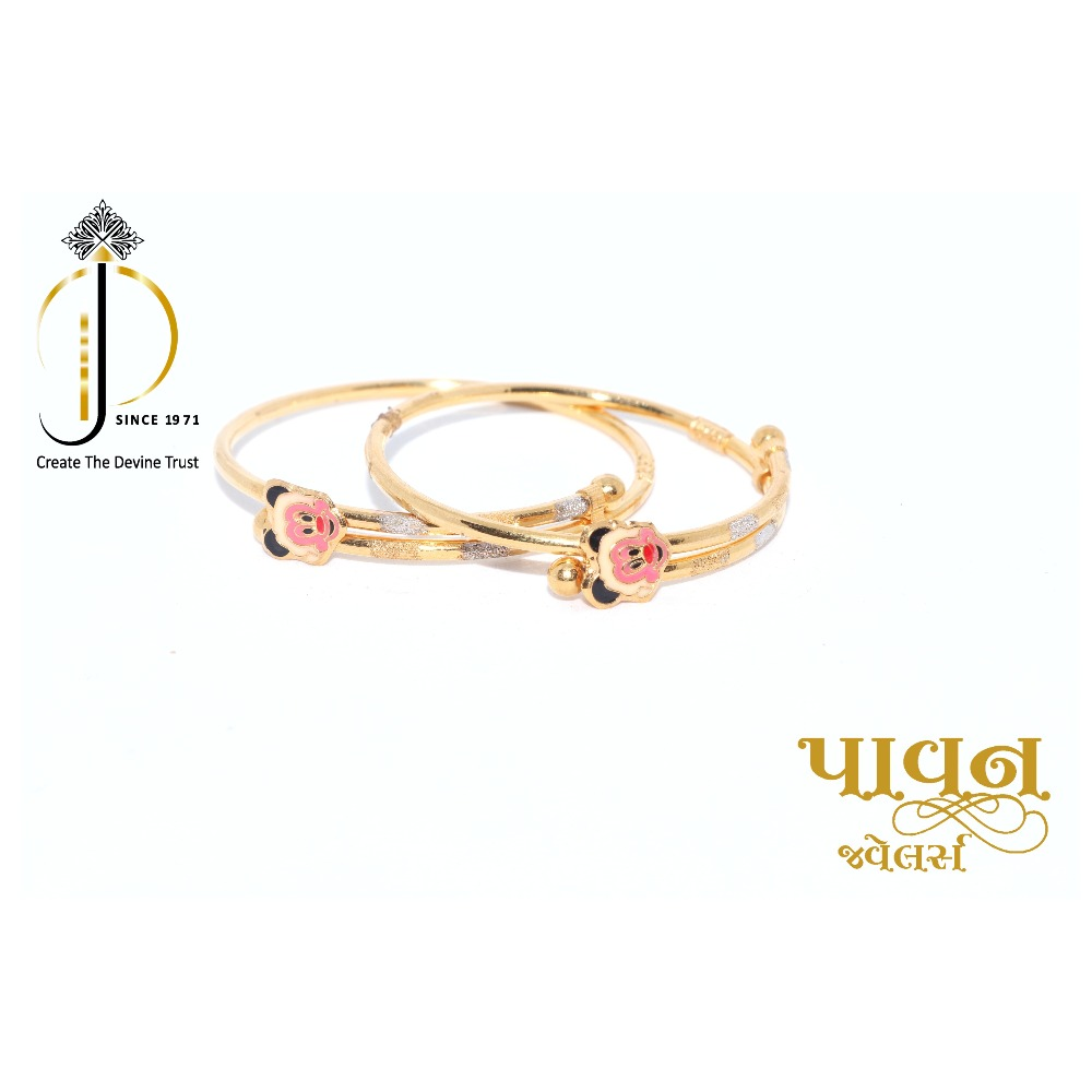 22ct / 916 yellow gold fancy delicate kada for little Baby BKG0021