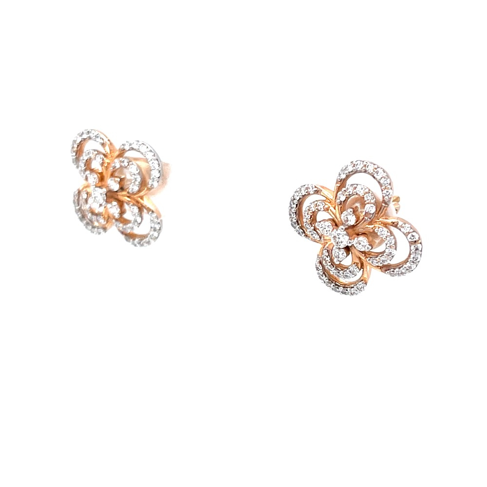Alyssum Flower Inspired Diamond Earrings in 18k Rose Gold 9TOP113
