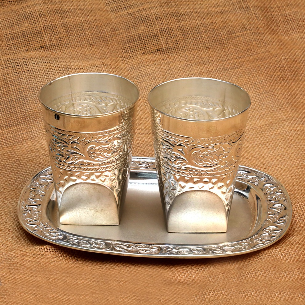 Silver Tray & Glass Set Of 2