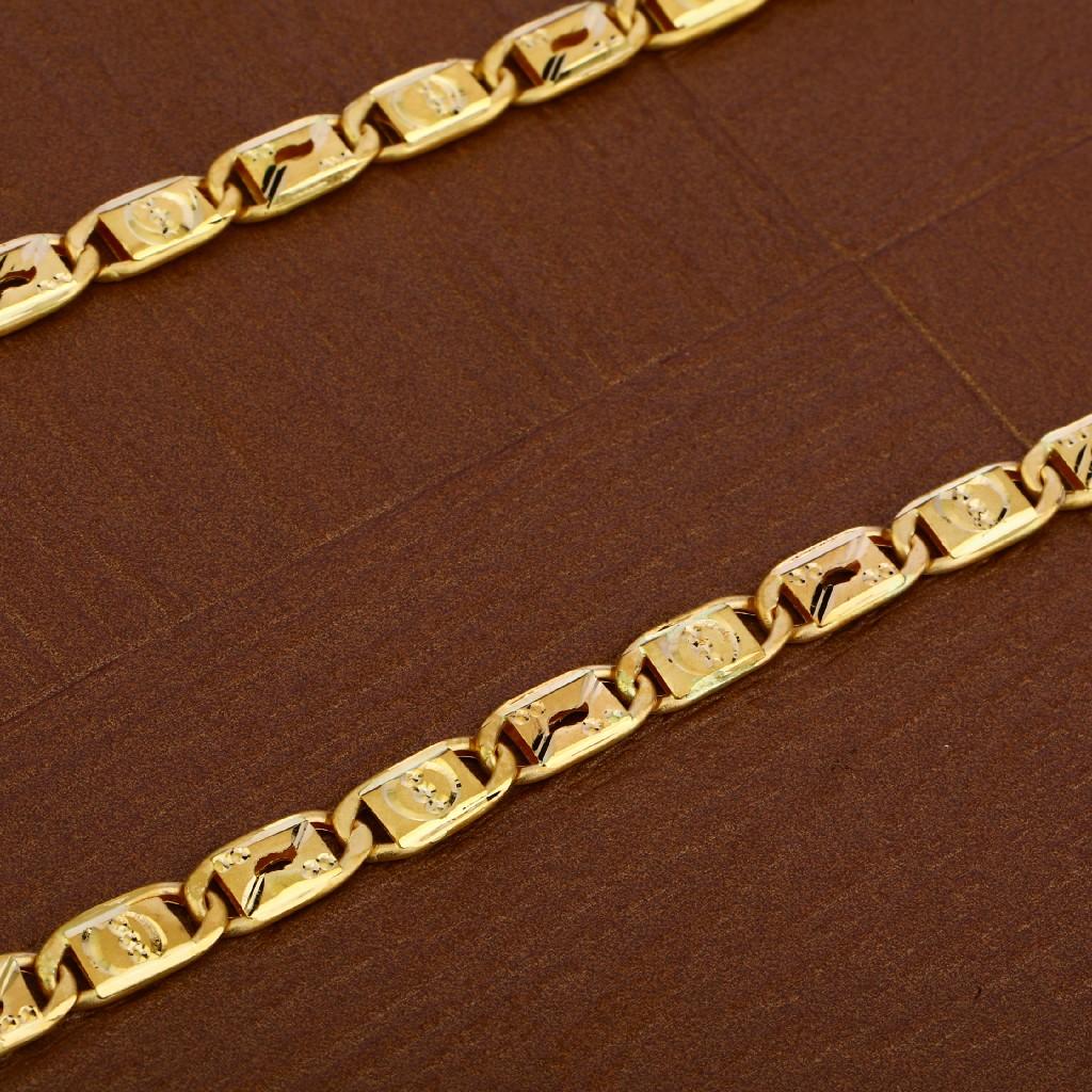 Mens 22K Gold Plain Chain-MNC40