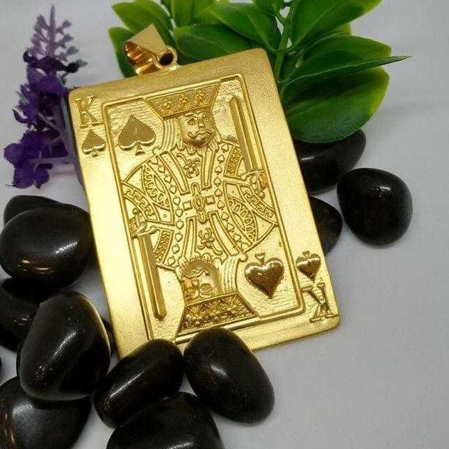916 Gold Gents Spade King Pendant