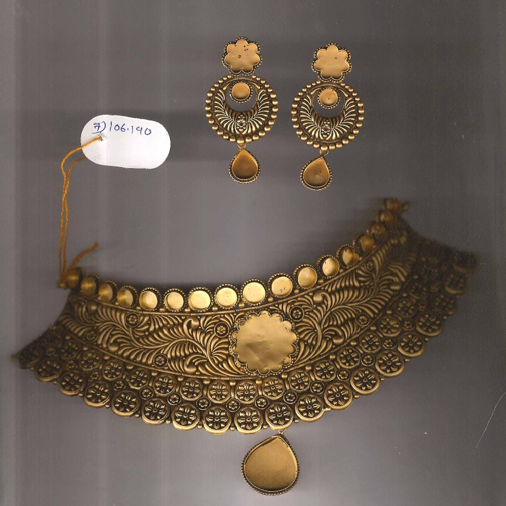 22KT Gold Antique Jadtar Khokha Necklace Set PJ-N002